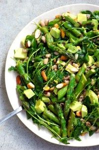 Asparagus Salad with avocado, beans and pea shoots. A recipe by Homespun Capers (vegan, gluten / grain free)