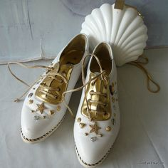 Vintage Jeweled Leather Oxford Shoes size 8 m Eur 38 .5 by GoodEye, $62.00
