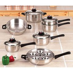 Maxam 9-Element Cookware Heavy Surgical Stainless Steel Construction High Dome Cover