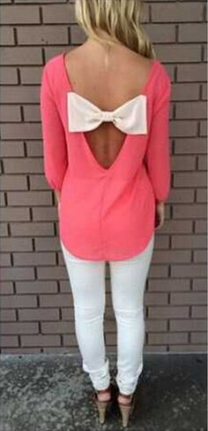 Pink Plain Back Cut Out Bow Long Sleeve Blouse