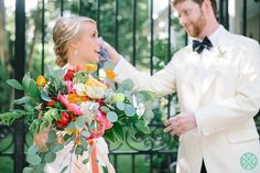The bride and groom during their first look in downtown Charleston - Tate and Davis