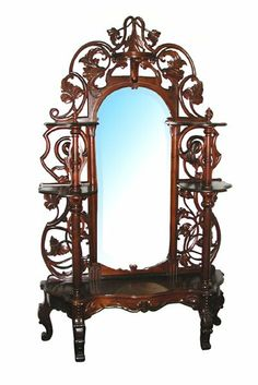Antique Victorian Pierce-Carved Rosewood Rococo Revival Étagère - American   c.1870