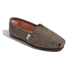 TOMS 'Classic' Metallic Tweed Slip-On (Women) Brown Tweed 10 M ($54) ❤ liked on Polyvore