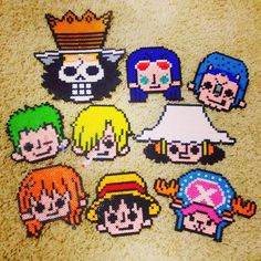 One Piece characters perler beads by topoci