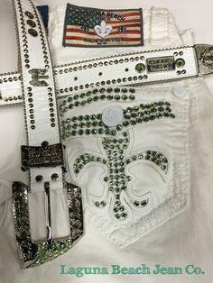 Shades of Green on St. Patrick's Day ☘ Laguna Beach Jean Co. Green Swarovski Crystal Jeans and Belts! www.lagunabeachjc.com #rocktheoclifestyle