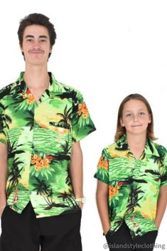 Father & Son matching Green Sunset Hawaiian Shirts. What fun for a bbq, sports game, cruise, luau or fathers day. Dress matching with Dad! #hawaiianshirts #matchymatchy #fathersday #partyshirts #fathersonmatching #cruisewear #sunsetshirts #sportsshirts #mathiingshirts #matchinghawaiianshirts #familymatching