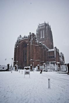 Liverpool Anglican Cathedral surrounded by snow