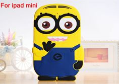 2016 Lovely Cute Kids Protective Shockproof 3D Cartoon Soft Silicone Minion Case Cover For iPad mini 1/2/3 7.9 inch
