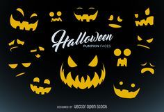Pumpkin carving templates for Halloween. Set of spooky expressions to carve your…