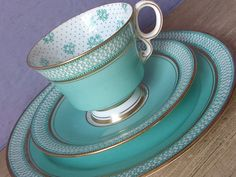 Antique 1920's Turquoise tea cup trio, Paladin English teacup and saucer plate set, Green & White Bone china teacup, Art deco tea set