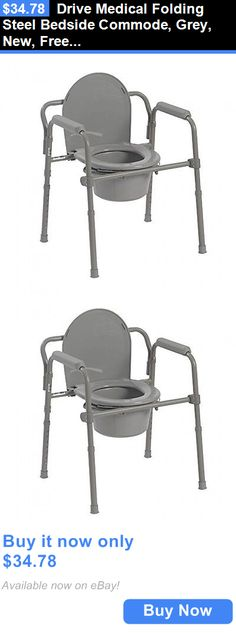 Shower and Bath Seats: Drive Medical Folding Steel Bedside Commode, Grey, New, Free Shipping BUY IT NOW ONLY: $34.78