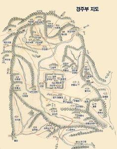 경주읍성의 위치와 규모.  경주부을 중심으로  주변지역의 지도(조선시대)