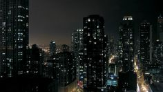 urban downtown night time-lapse - HD stock video clip building lights night