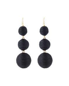 Threaded Triple-Drop Ball Earrings, Black