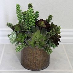 Artificial Succulents Arrangement in a Vintage Style Metal