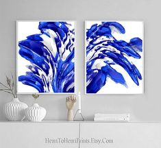 Blue Abstract Painting Set of 2 Prints Navy Royal Blue | Etsy