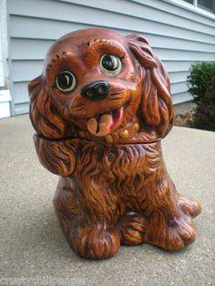 Vintage Pottery Cocker Spaniel Cookie Jar Twin Winton   eBay