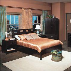 Modus Nevis Riva Modern Low Profile Wood Platform Bed 3 Piece Bedroom Set in Espresso - RVP23-XX-3PKG - Lowest price online on all Modus Nevis Riva Modern Low Profile Wood Platform Bed 3 Piece Bedroom Set in Espresso - RVP23-XX-3PKG