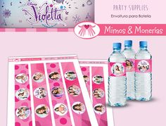 Violetta Bundle 1 - Water Bottle Labels - Digital Collage Sheet - Birthday Party Digital - Labels - Wrapper - Printable - INSTANT DOWNLOAD