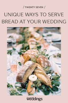 Bread makes for a great wedding appetizer as well as table decor. Your guests will appreciate the pre-dinner snack as well as the unique edible decoration appeal! Wedding Reception Appetizers, Wedding Reception On A Budget, Appetizers For Party, Wedding Receptions, Wedding Table, Festive Bread, Sugar Donut, Herb Butter, Dinner Rolls