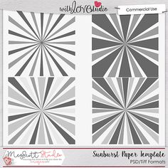 Sunburst Paper Templates from Meg Scott Studio. These commercial use templates are great addition to your designer stash. All the templates come in .psd and .tiff formats.