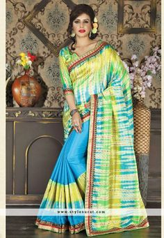 Unique Yellow And Sky Blue Printed Saree