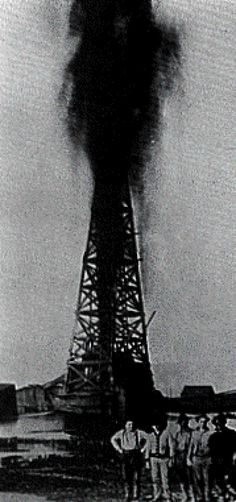 The gusher, known as Spindletop, that started the Texas Oil Boom on January 10, 1901, on a knoll just south of Beaumont.