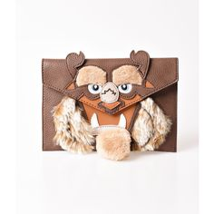 Danielle Nicole Brown & Tan Leatherette Beast Clutch (€49) ❤ liked on Polyvore featuring bags, handbags, clutches, multicolor, danielle nicole handbags, tan clutches, brown purse, white envelope clutch and tan purse