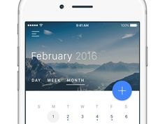 Calendar view for iOS app. In this quick project, I used Principle App to develop another animation inspired by Material Design. The animation shows the process for creating a new Event, Reminder...