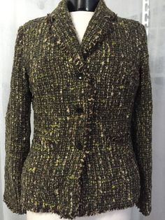 ca7865fa1f J. Jill Women s Jacket Wool Blend Espresso Tweed Lined Blazer Size 8T NWT   149