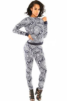 Retro Paisley Print Fashion Pant Set – ModeShe.com Ensemble Pantalon Femme 3e7101e6901