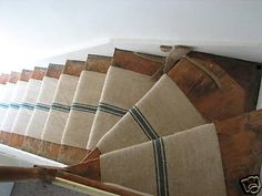 Burlap stair runner. I LOVE it but don't know where to find it or if it would be safe.