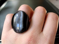 Black Cat's Eye Ring Oxidized Copper Wire Wire by HardCandyGems, $47.00