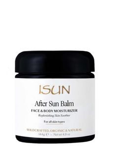 ISUN Skincare After Sun Balm - cooling, delicious aromatic virgin coconut oil is blended with aloe vera gel and infused with soothing herbs including calendula, lavender, comfrey, helichrysum and more. Calming aloe vera butter and soothing cucumber distillate are added to the blend creating a synergy of ingredients beautifully suited to cool, calm, soothe and replenish skin dryness after sun exposure. Find it at Dutch Health Store
