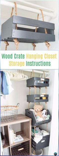 DIY Wood Crate Hanging Closet Storage Instructions - DIY Wood Crate Furniture Ideas Projects #handmadehomedecor