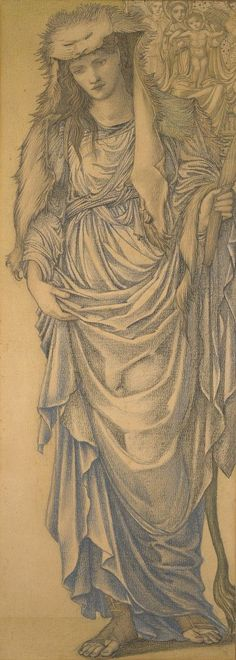 Edward Burne-Jones, 1833-1898, British, The Tiburtine Sibyl, 1875.  Pencil, black chalk, and pastel, heightened with gold paint on paper, 111.6 x 45.3 cm.  Birmingham Museums and Art Gallery, Birmingham.  Pre-Raphaelite.