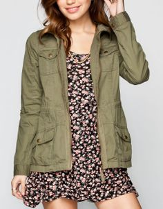 FULL TILT Fleece Hood Womens Twill Anorak Jacket 232028531 | Jackets & Vests | Tillys.com