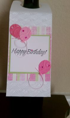 Happy Birthday Wine Bottle Tag by RoseGardenCreations on Etsy