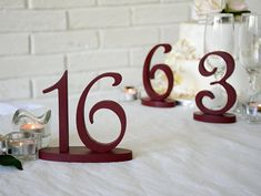 Wedding table numbers in Burgundy red elegant rustic script
