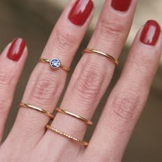 Sapphire Blue Stackable Rings Gold Set of 5 from kellinsilver.com