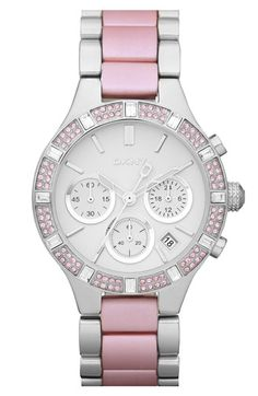DKNY 'Street Smart Medium' Two Tone Bracelet Watch in Pink.  Aluminum center links provide a pop of color on a sporty chronograph watch elevated by a jeweled topring and smooth, white dial.