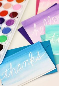 Watercolor Notecards : but with designs (maybe not words?)