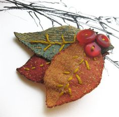 Red Orange & Green Embroidered Fabric Leaves Brooch Fall by odpaam, $9.00