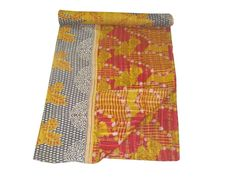 HANDMADE INDIAN VINTAGE KANTHA QUILT REVERSIBLE BEDSPREAD THROW BLANKET  DECOR #LuckyHandicraft #Traditional