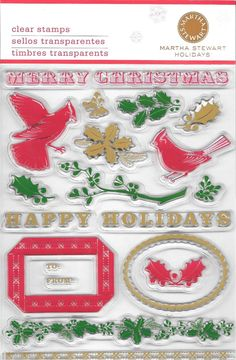 Martha Stewart Holiday Merry Christmas Clear Stamp Set