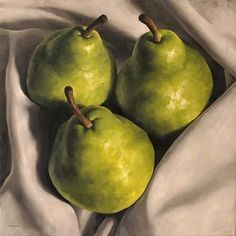 """""""Wrapped Pears"""" - Michael Naples, oil on canvas, 2010 {fruit still life art painting #loveart}"""