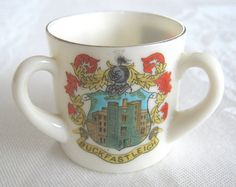 """Arcadian crested china model of loving-cup with """"Buckfastleigh"""", """"Devon"""" and """"England"""" crests (SOLD) - www.vanishederas.com"""