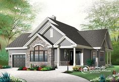 1459 sq. ft. I like the entry way, kitchen in the middle of everything, huge shower and separate tub, large laundry is not a walk way, patio near the kitchen. House plan W3235-V2 by drummondhouseplans.com