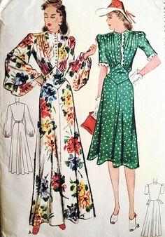1940s  BEAUTIFUL EVENING GOWN  DINNER DRESS PATTERN  WW II WAR TIME 2 STYLES McCALL 3695