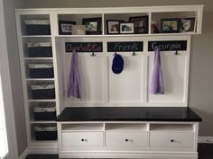 Ikea hack entryway. Would like something like this only space for 4 people and using shelves for books.